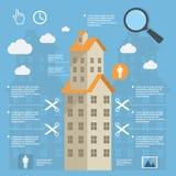 Construcción infographic del negocio de edificios de apartamentos en diseño plano Fotos de archivo libres de regalías