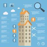 Construcción infographic del negocio de edificios de apartamentos en diseño plano Imagen de archivo