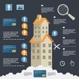 Construcción infographic del negocio de edificios de apartamentos en diseño plano Foto de archivo
