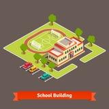 Construcción isométrica del campus o de escuelas de la universidad stock de ilustración