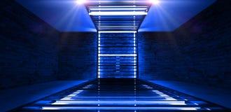 Construcción metálica rectangular iluminada por las lámparas de neón del LED Pared de ladrillo con la luz de neón foto de archivo