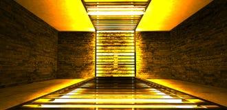 Construcción metálica rectangular iluminada por las lámparas de neón del LED Pared de ladrillo con la luz de neón fotos de archivo libres de regalías
