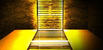 Construcción metálica rectangular iluminada por las lámparas de neón del LED Pared de ladrillo con la luz de neón imágenes de archivo libres de regalías