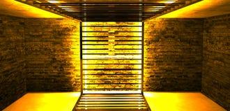 Construcción metálica rectangular iluminada por las lámparas de neón del LED Pared de ladrillo con la luz de neón foto de archivo libre de regalías