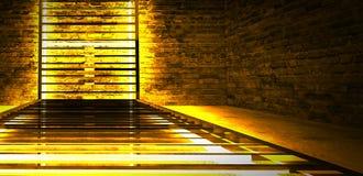 Construcción metálica rectangular iluminada por las lámparas de neón del LED Pared de ladrillo con la luz de neón fotografía de archivo libre de regalías