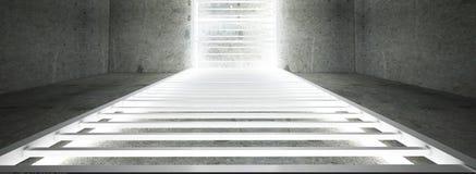 Construcción metálica rectangular iluminada por las lámparas de neón del LED Pared de ladrillo con la luz de neón imagen de archivo