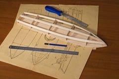 Construcción modelo de escala de la nave Fotos de archivo libres de regalías