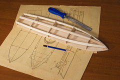 Construcción modelo de escala de la nave Fotografía de archivo
