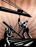 Construcción Team Workers Woodcut Retro Poster Fotos de archivo libres de regalías