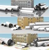 Construcción urbana de la bandera libre illustration