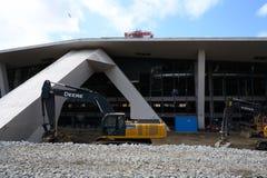 Construcci?n en la arena dominante Seattle Washington foto de archivo