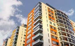 Construcción de viviendas con los balcones Foto de archivo libre de regalías