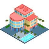 Construcción del hotel isométrica Imagen de archivo libre de regalías
