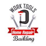 Construcción e icono de las herramientas del trabajo de la reparación Fotografía de archivo