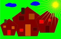 Construcciones de viviendas coloridas Imagen de archivo libre de regalías