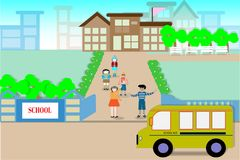 Construcciones y estudiantes de escuelas en la primera jornada - vector ilustración del vector