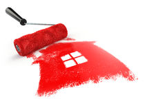Construcrion concept.Roller brush with sign of house isolated on Royalty Free Stock Image