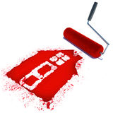 Construcrion concept.Roller brush with sign of house isolated on Stock Photos