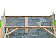 Construct brick block wall . Stock Images