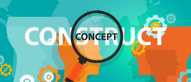 Construct vs concept idea of thinking analysis critical execution Royalty Free Stock Photo