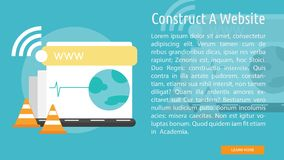 Construct A Website Conceptual Design. Set of great flat design illustration concepts for web, maintenance, internet, network and much more Stock Photo