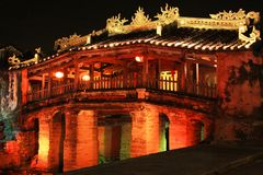 Hoi An Japanese Bridge At Night, Vietnam UNESCO World Heritage. Constructed by the Japanese trading community in 1593 to connect them with the Chinese area on Stock Photos