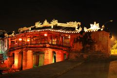 Hoi An Japanese Bridge At Night, Vietnam UNESCO World Heritage Stock Photo