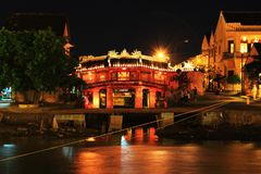 Hoi An Japanese Bridge At Night, Vietnam UNESCO World Heritage. Constructed by the Japanese trading community in 1593 to connect them with the Chinese area on stock image