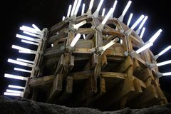 A Constructed in the Turda Salt Mine. stock photo