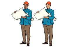 Constructeur African American de deux hommes et Caucasien illustration libre de droits