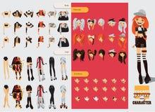 Constructeur avec des pièces de rechange pour la belle fille visuelle de kei Différentes coiffures, émotions, accessoires, posant Illustration de Vecteur