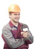 Constructeur avec l'étiquette nommée blanc Images libres de droits
