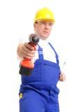 Constructeur avec la foreuse Images stock