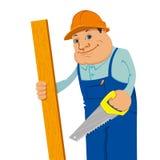 Constructeur avec la scie de main Images libres de droits
