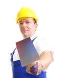 Constructeur avec la truelle photo stock
