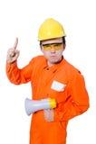 Constructeur avec le haut-parleur Photographie stock libre de droits