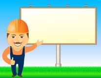 Constructeur avec le panneau-réclame et l'herbe Photo stock
