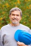 Constructeur d'entrepreneur avec le masque bleu photographie stock