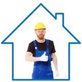 Constructeur d'homme dans l'uniforme bleu Image stock