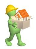 constructeur 3d portant un cadre avec la maison dans des mains illustration de vecteur