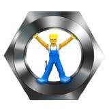 Constructeur dans la noix de vis Image stock