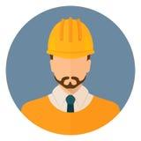 Constructeur dans les vêtements de protection et le casque Avatar de concepteur Conception plate illustration libre de droits