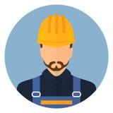 Constructeur dans les vêtements de protection et le casque Avatar de concepteur Conception plate illustration stock