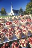 Constructeur de bord de la route vendant des pommes images stock