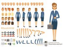 Constructeur de caractère de femme d'affaires Illustrations de vecteur de bande dessinée de différentes parties du corps et d'élé illustration libre de droits