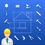 Constructeur de construction et icônes à la maison d'outils illustration stock