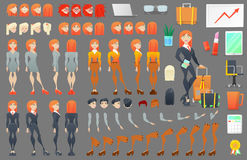 Constructeur de création de caractère de femme d'affaires Femme dans différentes poses Personne féminine avec des visages, bras,  illustration libre de droits