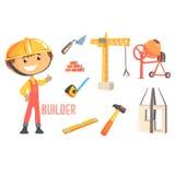 Constructeur de garçon, futur travailleur de la construction rêveur Professional Occupation Illustration d'enfants avec connexe à Photos libres de droits