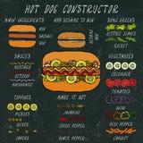 Constructeur de hot-dog Ensemble d'ingrédients de menu d'aliments de préparation rapide Illustration réaliste propre de haute qua images stock