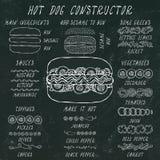 Constructeur de hot-dog Ensemble d'ingrédients de menu d'aliments de préparation rapide Illustration réaliste propre de haute qua photos libres de droits